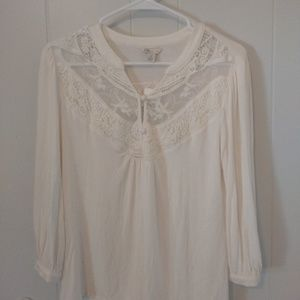 NWT CATO Embroidered Woman Top White Blouse Size S